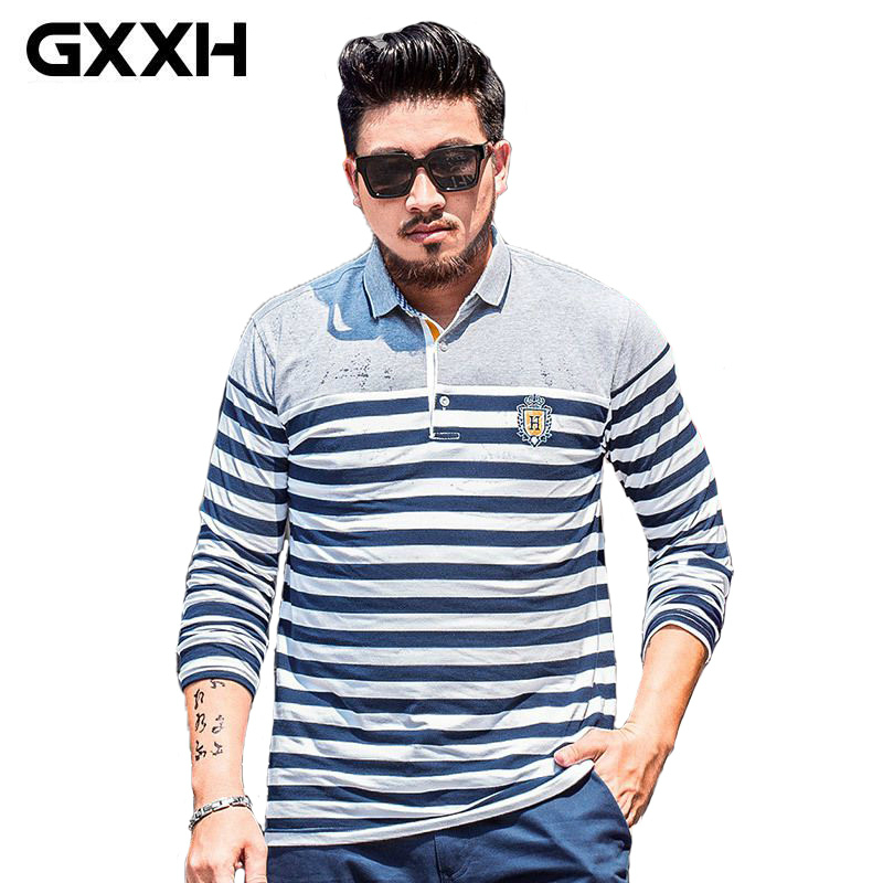 GXXH Autumn Brand Clothing Men's Lapel Striped   Polo   Shirts for Men Long Sleeved Casual Oversized   Polo   Shirts Male SIZE XXL-7XL