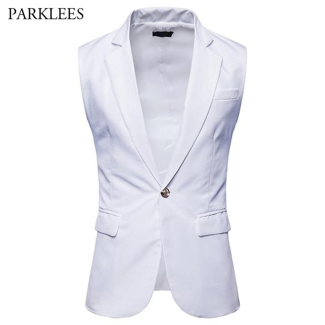68540ec5ea Business Suit Vest Men 2018 Casual Slim Fit One-button Colete Masculino Solid  Color Deep V Neck Extended Long Wedding Gilet Men