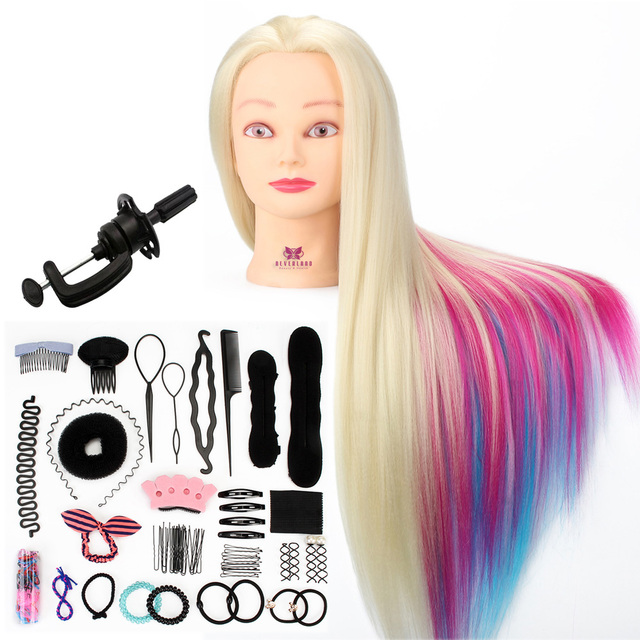 14 Inch Rainbow Hair Braiding Training Head Hairdressing Dummy ...