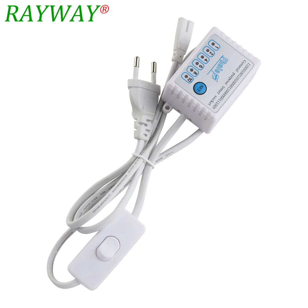 1.2M T5 EU Plug Cable With Switch And Timer Or Without Timer Input 180V-245V For LED Grow Light EU Or US Plug Swith Cable 2.5A