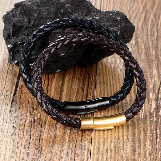 VB388 Men Jewelry Stainless Steel 100% Allergy Free Men Genuine Leather Cord Bracelets for Man Wristband Rope Bracelet Braided