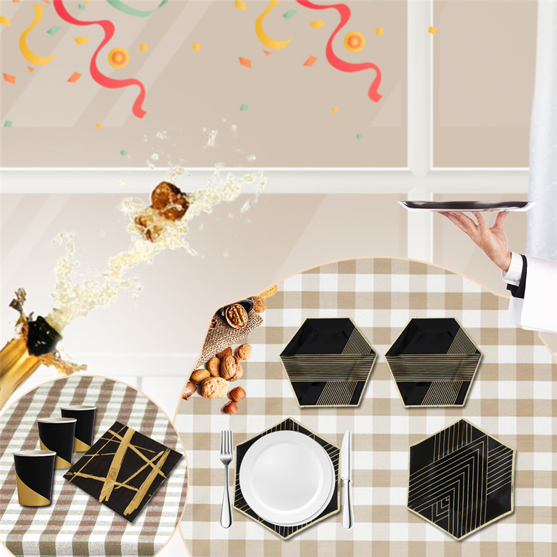 Black Type High end Gold Blocking Disposable Tableware Set Paper Plates Cups Napkins Party Wedding Carnival Tableware Supplies-in Disposable Party Tableware ...  sc 1 st  AliExpress.com & Black Type High end Gold Blocking Disposable Tableware Set Paper ...