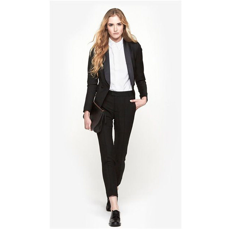 2018 New Style Black Jacket+Pants Women Busines Suits Blazer 2 Piece Set Female Office Uniform B56