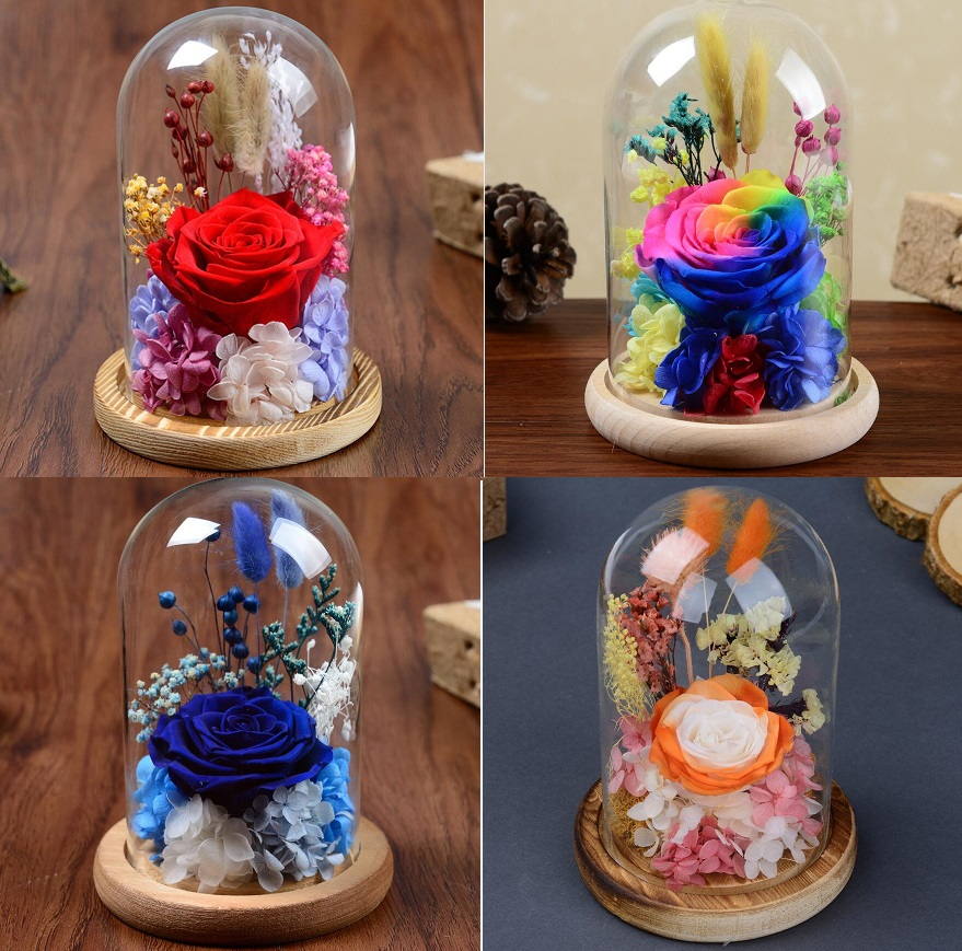 Belle fleur Rose conservée fraîche avec couvercle en verre pour la fête de mariage anniversaire saint valentin cadeau faveurs décoration de la maison