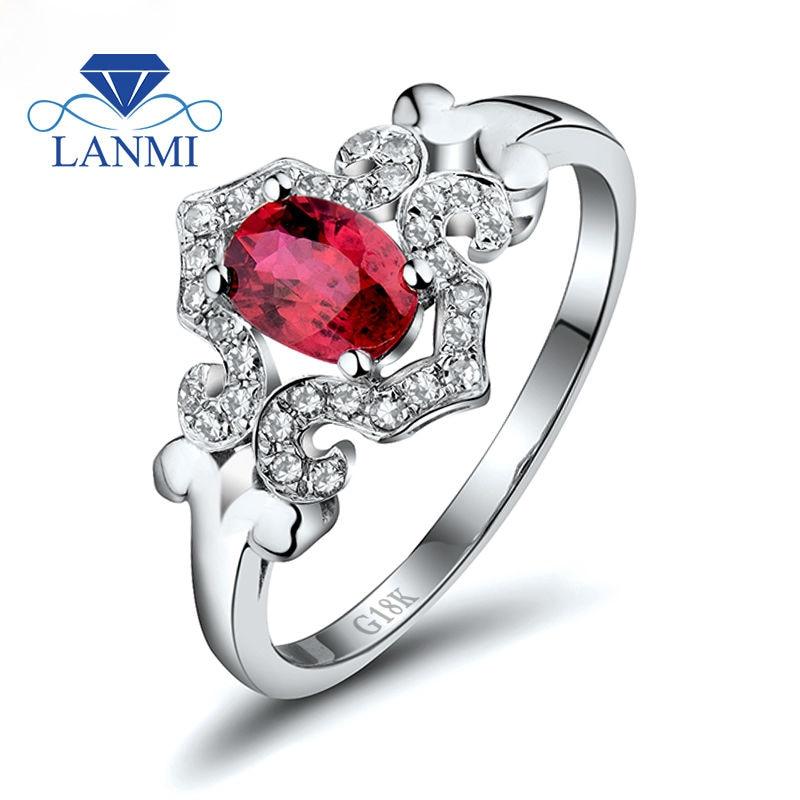 Mode skønhed smykker oval 5x7mm rubin med naturlig dia i solid 18 kt hvid guld engagement ring wu256