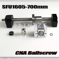 Ballscrew 700mm SFU1605 rolled ball screw C7 with end machined +1605 ball nut + nut housing+BK/BF12 end support + coupler RM1605
