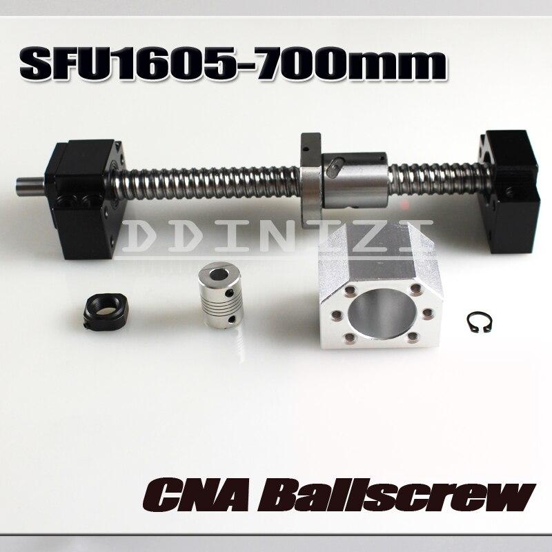 Vis à billes 700mm SFU1605 laminé à vis à billes C7 avec fin usiné + 1605 écrou à billes + écrou logement + BK /BF12 support d'extrémité + coupleur RM1605
