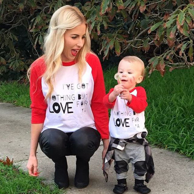 2017 New Casual Family Look Cotton Family Matching Shirts Letter mother and daughter clothes Shirts Fashion Family Clothing