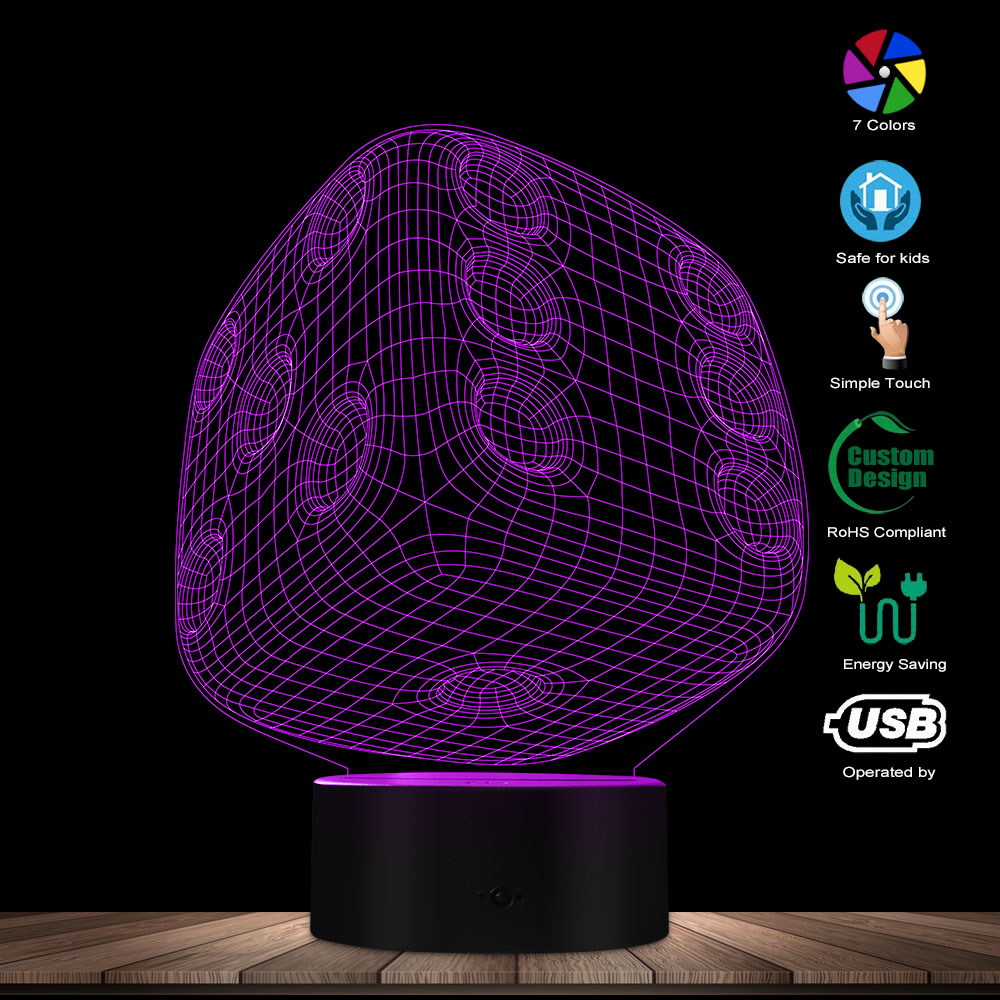 Dice Shape LED Night Light Home Decor Atmosphere LED Color Change Lamp Colorful Gradient 3D Optical Illusion Table Visual Lamp