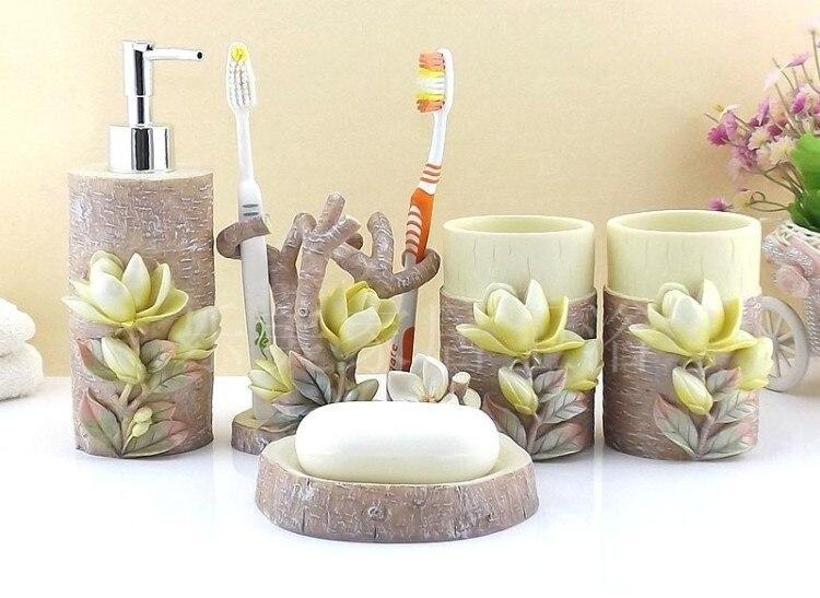 Resin Bathroom Accessories Set Five Pieces Mognolia Fl Decoration Decorative Kits Home Decor 5