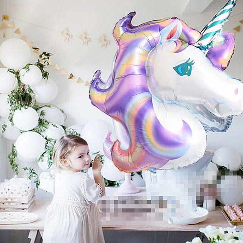 136x97 centímetros Gradientes de Laser Gigante Cavalo Unicórnio Balão Da Folha Para O Grande Evento Do Unicórnio Do Arco do Balão da Festa de Aniversário Decoração brinquedos do miúdo