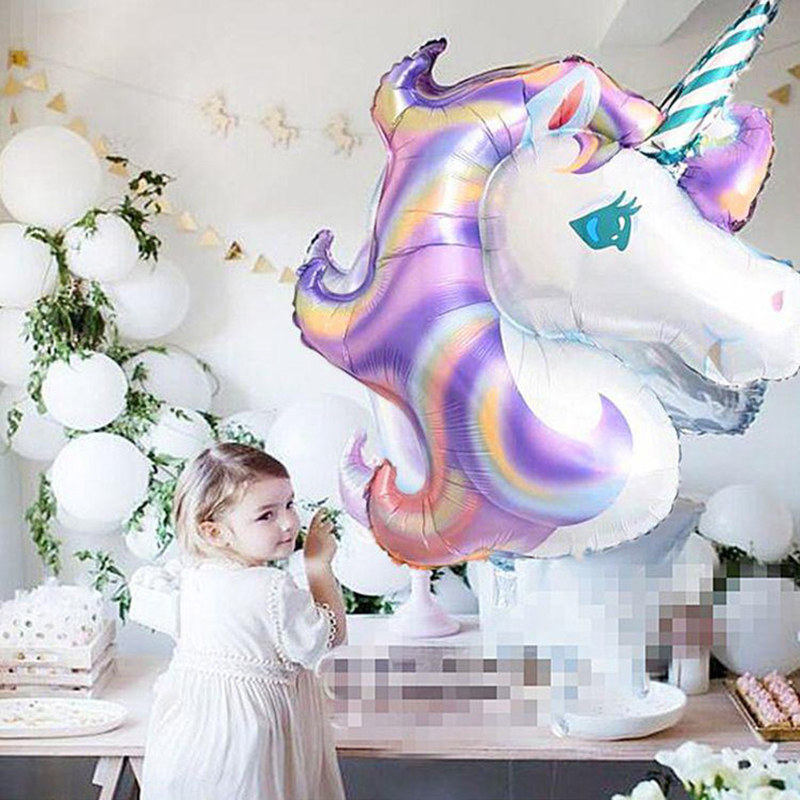 Image 5 - 136x97cm Giant Laser Gradients Unicorn Horse Balloon Rainbow Unicorn Foil Balloon For Grand Event Birthday Party Decor Kid Toys-in Party DIY Decorations from Home & Garden