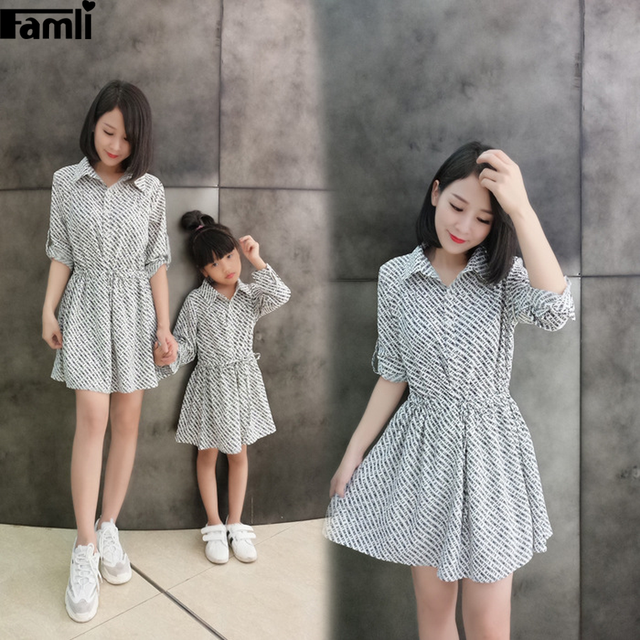 6a684be4f91 Famli 1pc Mother Daughter Christmas Matching Dresses Autumn Fashion Family  Mommy Me Outfit Long Sleeve Stripe Dress Clothes Set