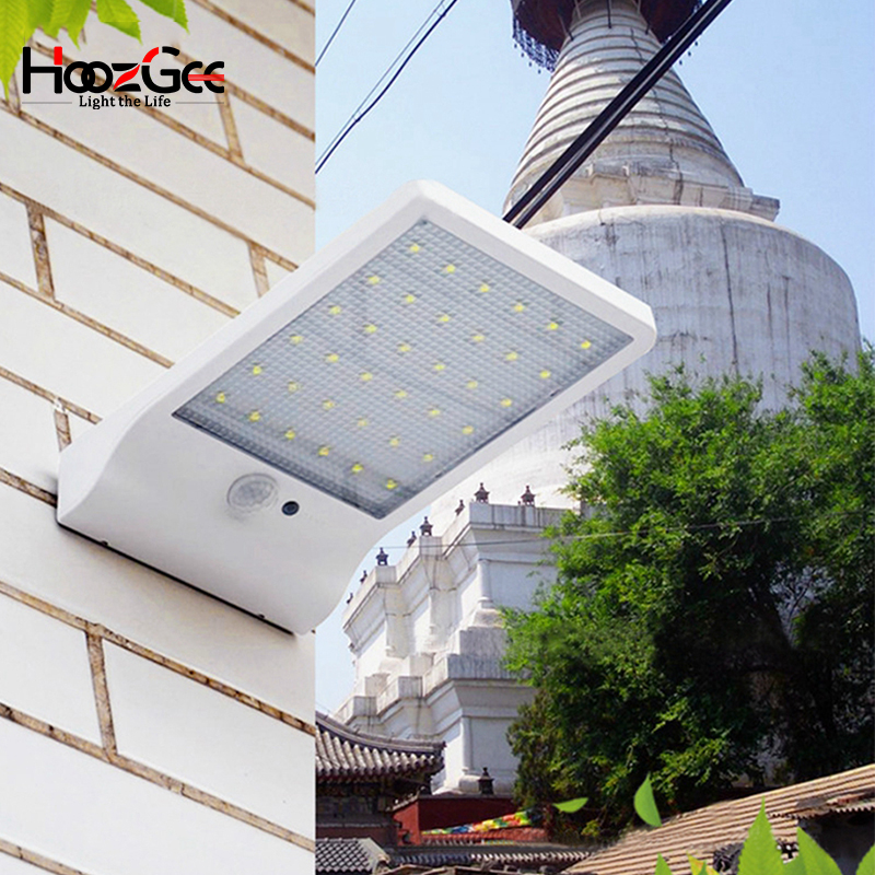 HoozGee Wall Light 450LM Waterproof 36 LED Solar Power Street Lights PIR Motion Sensor Lamp Outdoor Garden Patio Security Lamps