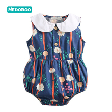 Medoboo Baby Summer Romper Cotton Jumpsuit Europe Print Sleeveless Newborn Bodysuit Outfit One-Pieces Girls 30
