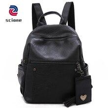 Купить с кэшбэком Women Soft Leather Backpack Teenage Girls School Bag Female Vintage Solid Color Bag Pack Mochila Black Casual Travel Bags