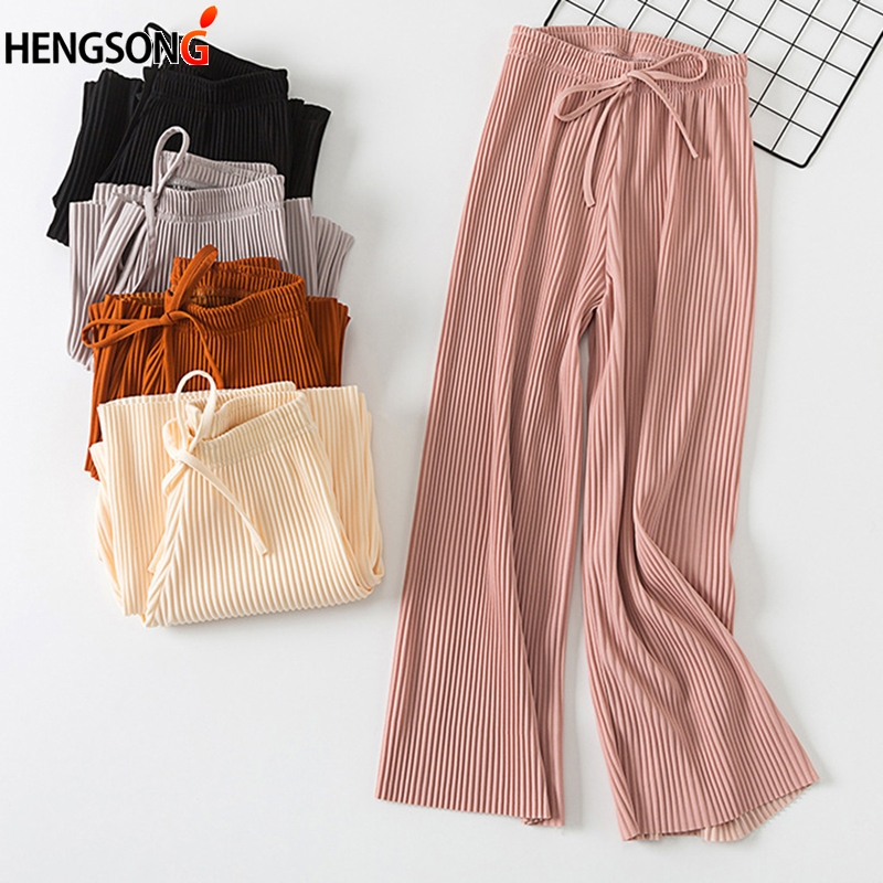 2018 Fashion Summer   Wide     Leg     Pants   Women High Waist Pleated Chiffon Loose Palazzo   Pants   Elegant Office Ladies Trousers
