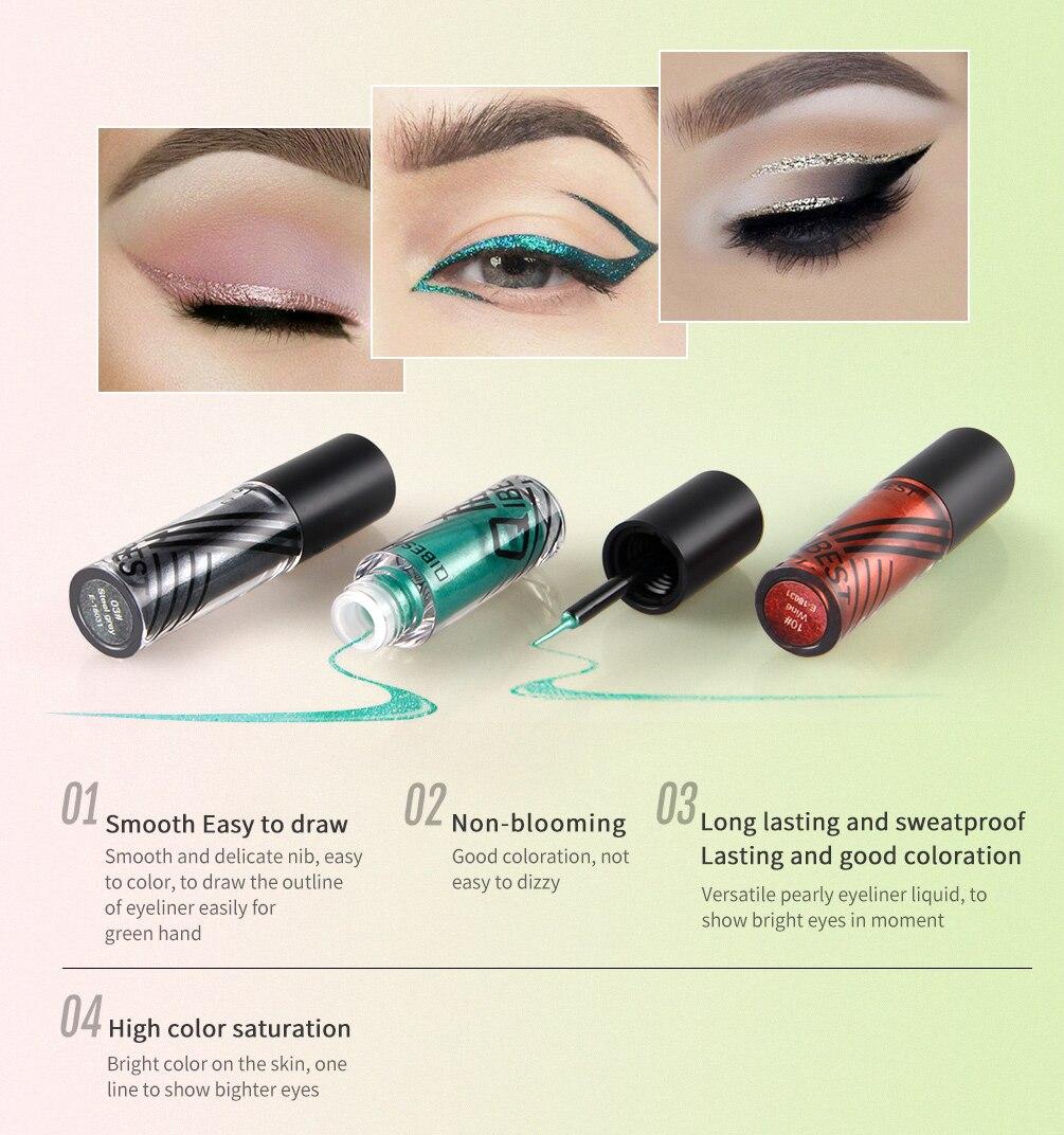 Colors Liquid Eyeliner Waterproof Glitter Eyeliner Gel Makeup Silver Blue  Gold Gel Eye Liner delineador de ojos Cosmetics