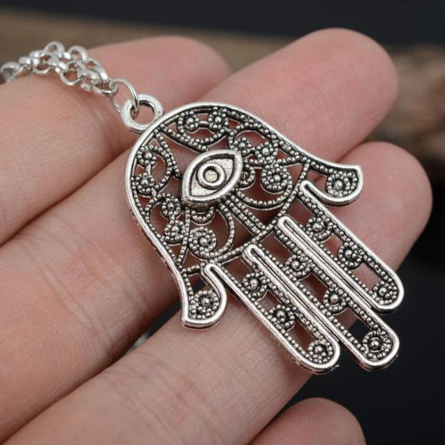 Fashion good luck protection hamsa symbol fatima hand pendant fashion good luck protection hamsa symbol fatima hand pendant chain necklace for women lady girl mozeypictures Gallery