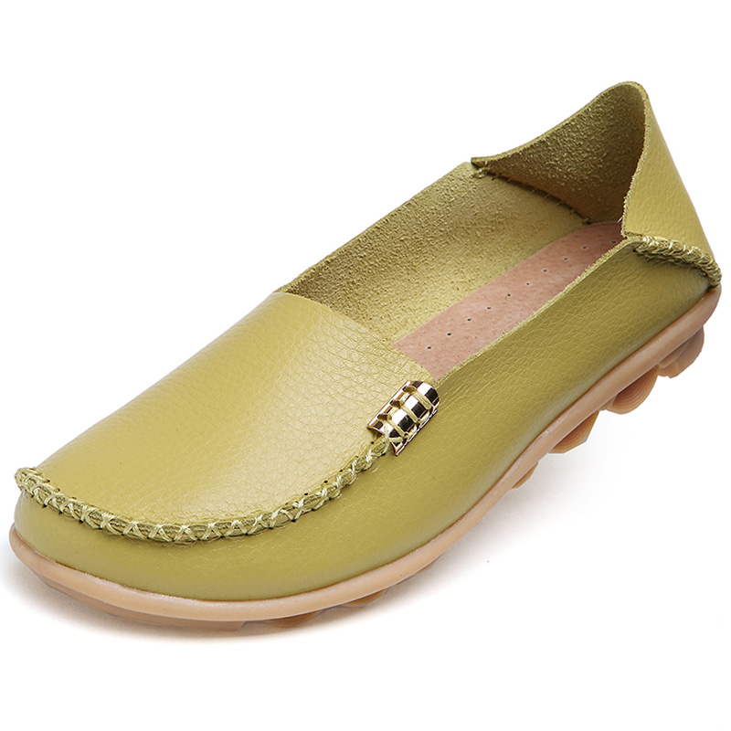 Plus Size 34-44 Genuine Leather Women Casual Shoes Summer 16 Colors 2018 Fashion Breathable Slip-on Peas Massage Flat Shoes