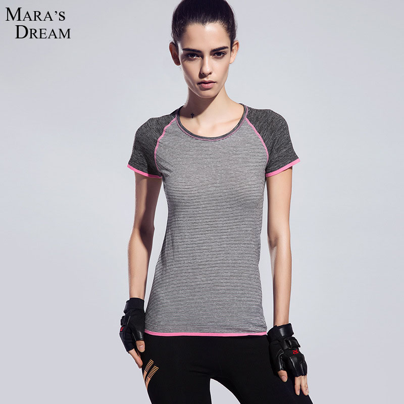 Dry quick gym t shirt compression tights women 39 s sport t for Women s running shirt