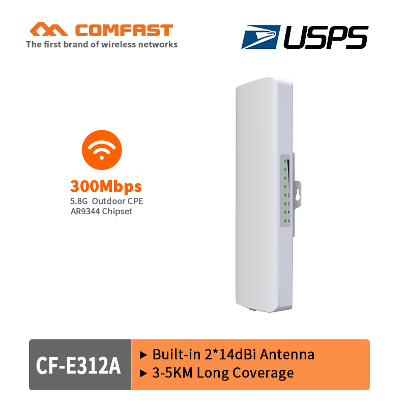 5.8Ghz 300M outdoor CPE repeater with 2*14dBi WIFI Antenna high power wireless bridge COMFAST CF-E312A WIFI Nanostation router comfast high power wifi repeater outdoor cpe wifi router extender 2km distance 300mbps wds wireless bridge antenna routers