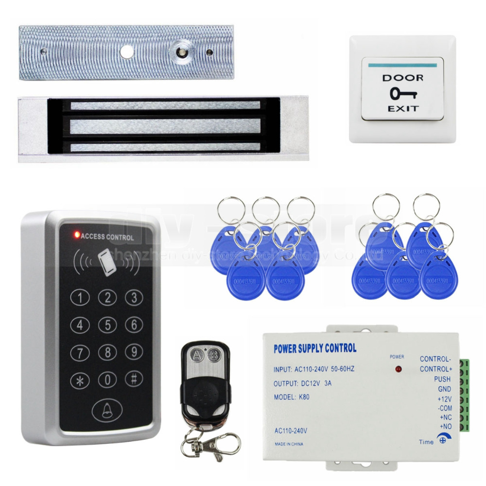 DIYKIT Diy Full Complete Rfid Card Keypad Door Access Control System Kit + Magnetic Lock for Home Improvement diysecur magnetic lock door lock 125khz rfid password keypad access control system security kit for home office