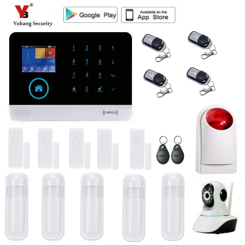 Yobang Security WIFI GSM 3G GPRS English German Switchable RFID card Wireless Home Security Arm Disarm Alarm system unlock gsm edge gprs 3g wcdma wireless wifi lan rj45 modem router huawei e5151
