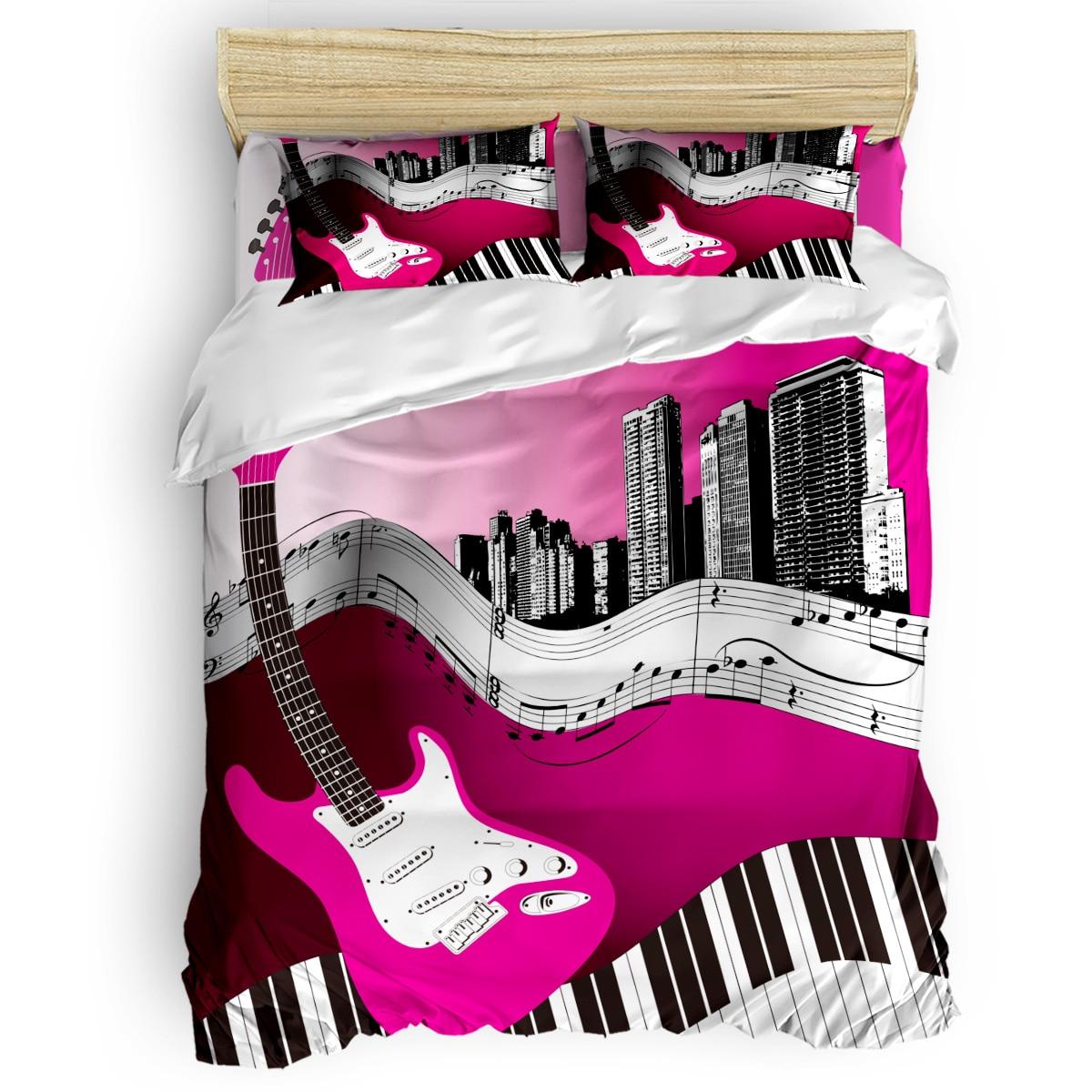 Guitare électrique rose Notes de Piano veille de tous les Saint jours couette ensemble de literie Thanksgiving jour couette ensembles noël jour Childre