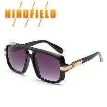 Hombres 2017 de la Marca de Lujo de gran tamaño gafas de Sol Cuadradas Vendimia Logo Negro Gris Moda Retro gafas de Sol Para Hombre gafas de sol hombre