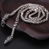 Ручной работы 100% 925 Серебряный Дракон ожерелье тибетский шесть слов пословица ожерелье сила Дракон ожерелье мужские ювелирные изделия