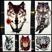 Rose Flower Sexy Wolf Head Temporary Tattoo For Women Body Art Valentine Arm Flash Tattoo Sticker Waterproof Transfer Tatoo Legs