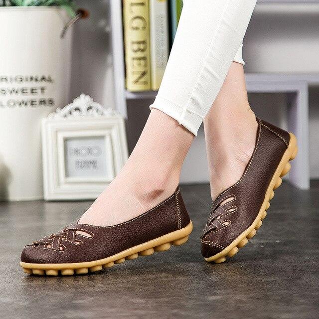 1433d3bea6 Sapatas das mulheres PUleather Plana com tamanho Grande 34-44 sapatos  femininos sapatos Casuais 2018