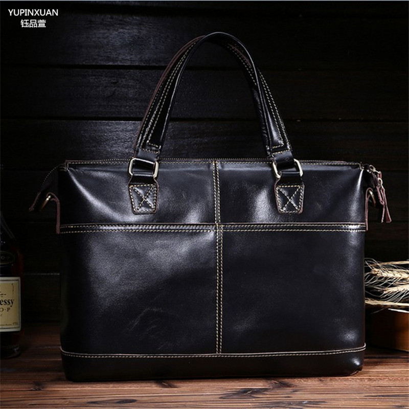 YUPINXUAN High Quality Oil Wax Cow Leather Briefcases for Men Messenger Bags Black Crossbody Bag Genuine Leather Handbags Hombre 1pc white or green polishing paste wax polishing compounds for high lustre finishing on steels hard metals durale quality