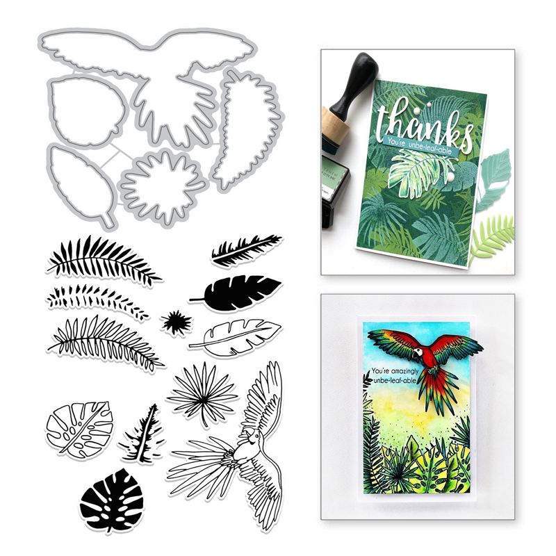YaMinSanNiO Leaf Parrot Metal Cutting Dies and Clear Stamps Scrapbooking Die Cuts For Making Card Embossing Craft Stitch Stencil in Cutting Dies from Home Garden