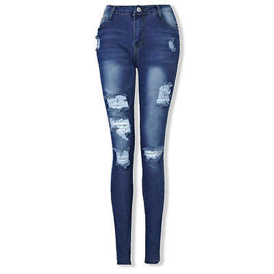 Women Cool Scratched   Pants   Trousers Destroyed Ripped Distressed Slim Casual   Pants   Boyfriend Trousers