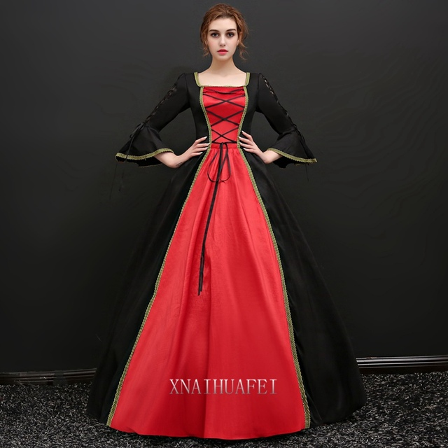 2a5458eb4d377 Free ship long flare sleeve black red queen venice carnival queen ball gown  medieval dress Renaissance Gown Victoria/Antoinette