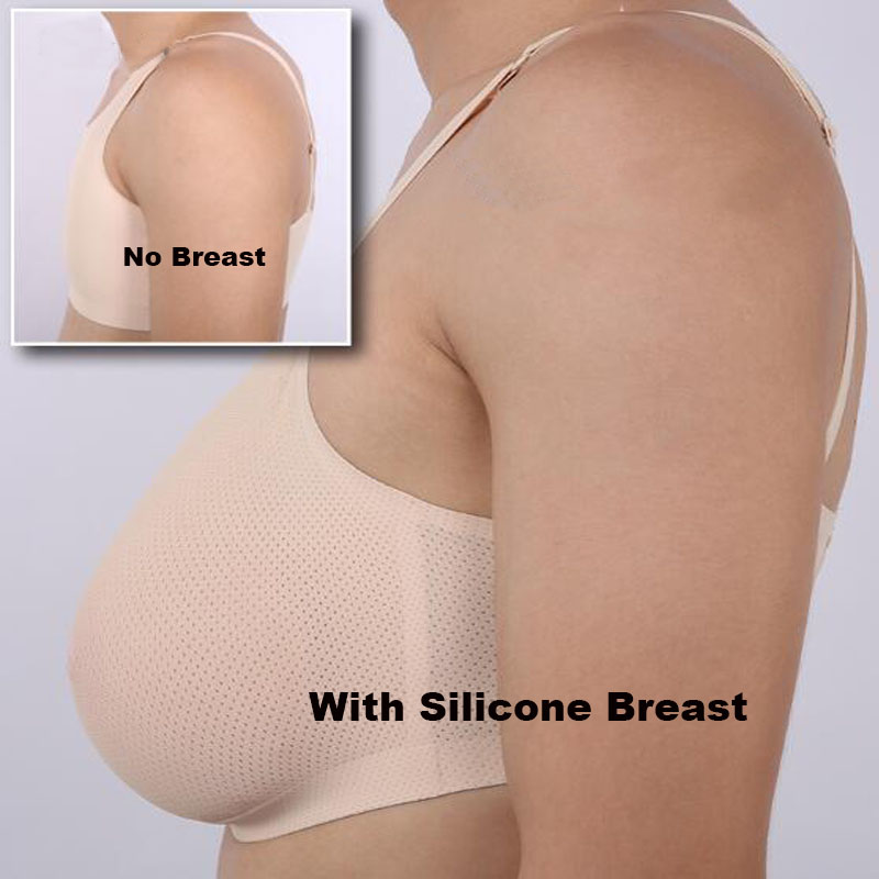 800g realistic silicone breast form with crossdressing bra comfortable invisible fake boob transgender C cup
