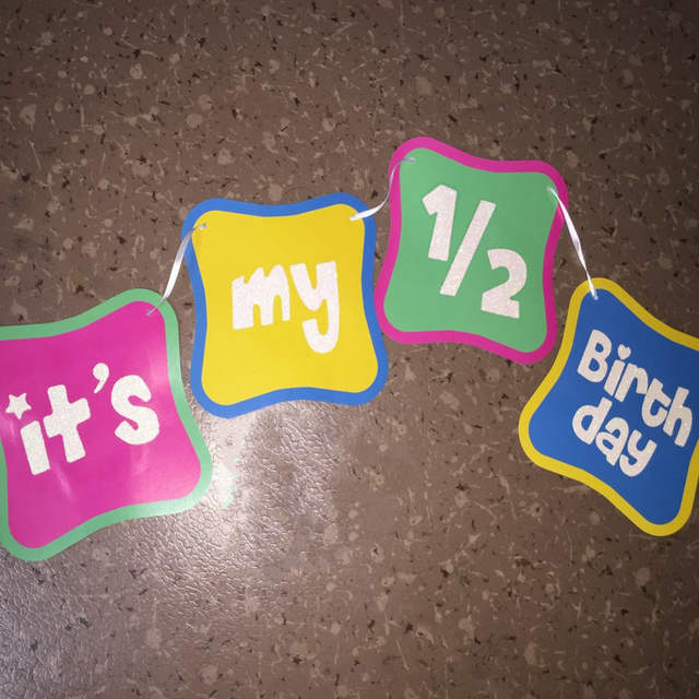 Placeholder 15m Shimmering Its My Half Birthday Banner 1 2 Decorations 6 Months Old