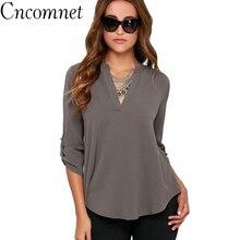 CNCOMNET Big Size Women Tops V-neck Chiffon Blouses 3/4 Sleeve Female Shirt New Fashion Feminina Camisas Blusas S-5XL
