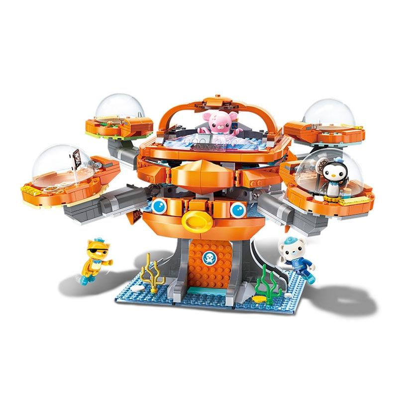 Enlighten Building Block Octonauts Octo-Pod Octopod Playset & Barnacles kwazii peso Inkling 698pcs Educational Bricks Toy
