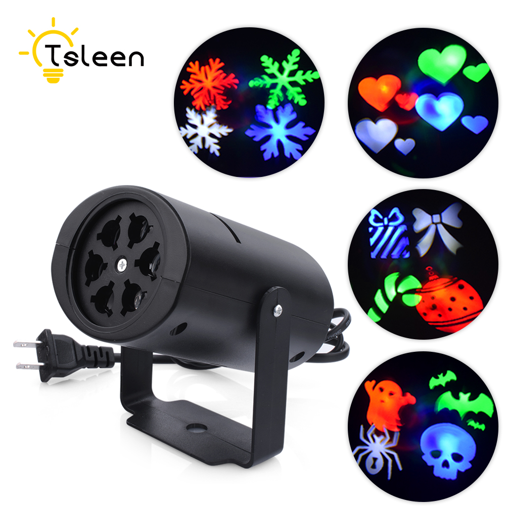 TSLEEN Moving Led Laser Stage Chrismas Party Lamp Auto Rotating Projector Decoration Light Disco KTV Xmas Party Effect Lights