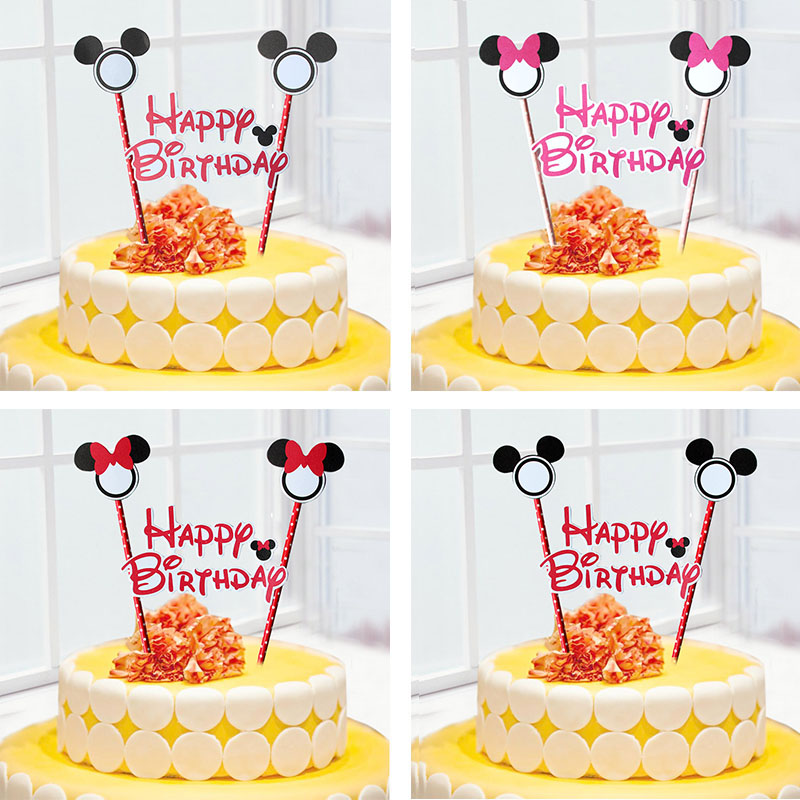 1set Mickey Minnie Mouse Cupcake Cake Topper Cake Flags Paper Straw