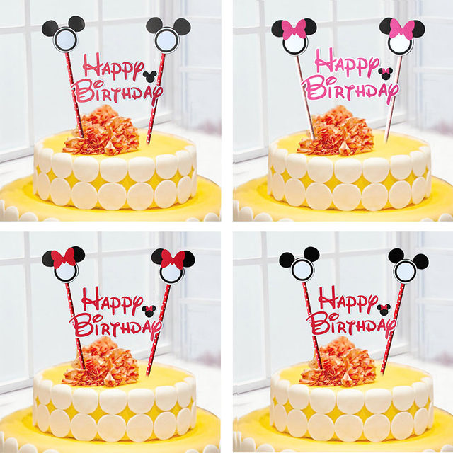 Online Shop 1set Mickey Minnie Mouse Cupcake Cake Topper Cake Flags