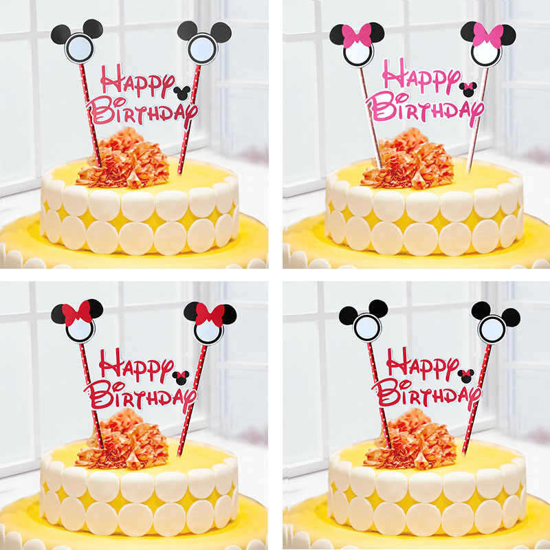 Wondrous 1Set Mickey Minnie Mouse Cupcake Cake Topper Cake Flags Paper Funny Birthday Cards Online Eattedamsfinfo