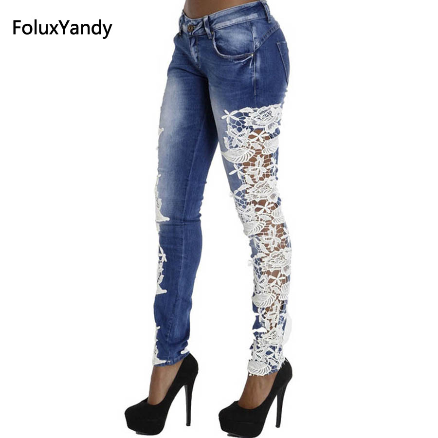 Hollow Out Lace Patchwork Denim Jeans Woman Casual Low Waist Slim Elastic Jeans Trousers Blue TS31