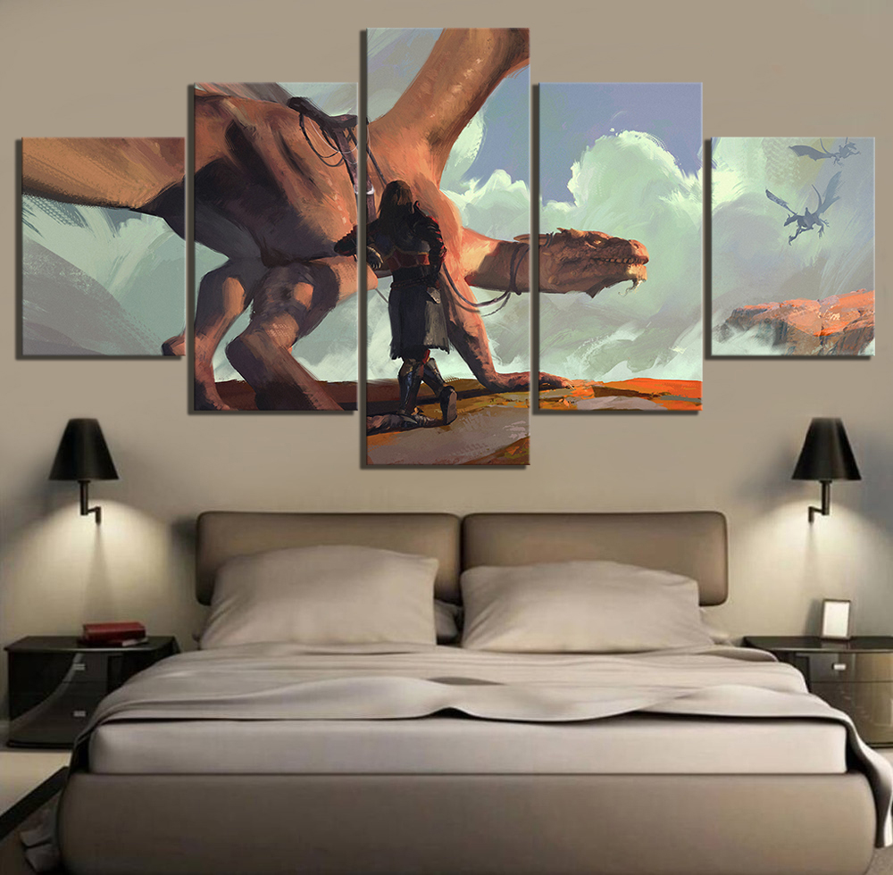 5 Piece HD Fantasy Art Drawing Paintings Dragon Artwork Wall Art Canvas Paintings for Living Room Wall Decor 1