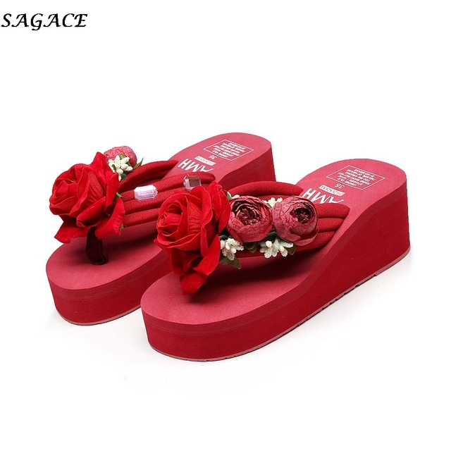 48ab588438494 SAGACE Summer Clip Toe slippers Women 2019 new Girls Wedges Flip Flops  Shoes fashion Ladies Hand-made Floral Beach Slippers  30