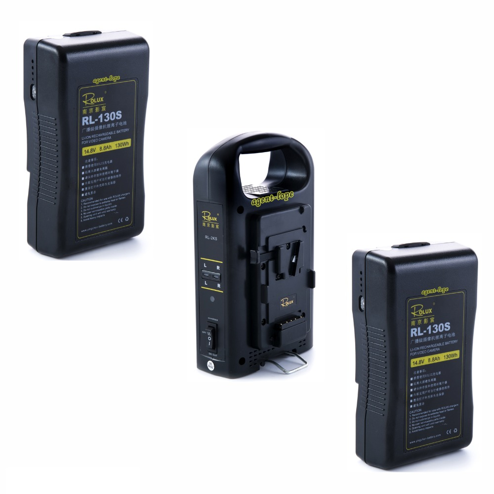 2pcs 130Wh Li ion Battery 1pc 2 channel Dual Charger Sony V mount V lock