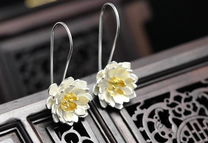 Jauns ierašanās 925 sudraba elegants Lotus piliens ziedu auskari - Modes rotaslietas - Foto 3